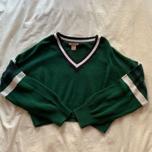 urban outfitters green striped sweater